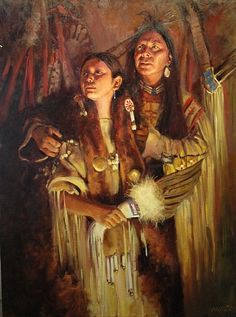 Warriors New Wife by Phil Beck Oil ~ 40 x 30