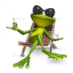 Buy Illustration Frog with a Cup of Coffee by brux on GraphicRiver. Illustration Frog with a Cup of Coffee Illustration of a Frog in a Deck Chair with a Cup of Coffee JPEG Frog Pictures, Funny Animal Pictures, Cute Pictures, Funny Animals, Cute Animals, Funny Frogs, Cute Frogs, Frosch Illustration, Hump Day Humor