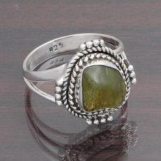 925 SOLID STERLING SILVER FANCY DESIGNER PERIDOT ROUGH RING 4.44g DJR4399 #Handmade #Ring