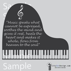 Piano quote Vinyl Wall Art 24 x 20 by CityZenDesign on Etsy, $33.99