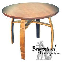 2325 - Tavolo a doghe con piano diam.110 cm codice 040/U - Botti di legno per arredamento