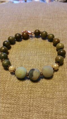 Green sandalwood and amazonite bracelet, by Dharmashop.  www.etsy.com/shop/dharmamalashop