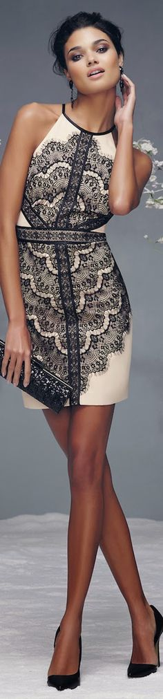 BEBE LACE HALTER DRESS
