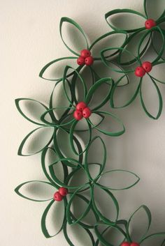 DIY Christmas Wreath from toilet paper rolls