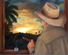 """Created in 2007. """" My Farmer"""" is a Cuban farmer with a cigar in hand and smoky homemade coffee enjoying the sunset in the countryside, while his heart is free  like the palm trees  and hope in a better morning."""