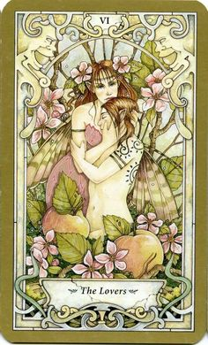 """""""The Lovers"""" from the Mystic Faerie Tarot by Barbara Moore & Linda Ravenscroft  Tarot Deck - 78 Cards"""