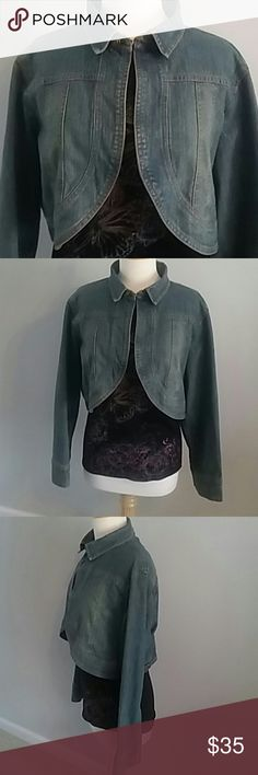 DREAM JEANS 2X DENIM CROP JACKET W BEADING ON BACK DRAMA JEANS SUPER STYLISH DENIM CROP BOLERO JACKET. A HOOK AND LOOK ATTACHES AT THE NECK AND A DRAMATIC BEADING DESIGN ADORNS THE BACK. HAS A COMFORTABLE SPANDEX, COTTON, & POLYESTER BLEND. SIZE 2X. GREAT JACKET. Drama Jeans Jackets & Coats Jean Jackets