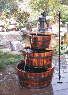 30 Fantastic Garden 30 Fantastic Garden Waterfall For Small Garden Ideas Barrel Fountain, Tabletop Fountain, Indoor Fountain, Garden Waterfall, Waterfall Fountain, Small Waterfall, Indoor Waterfall, Garden Water Fountains, Water Garden