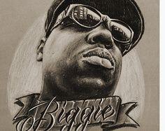 JEREMY WORST Biggie drawing sketch charcoal fine art print notorious big smalls who shot ya rapper legend new york brooklyn Dope Cartoon Art, Dope Cartoons, Drawing Sketches, Drawings, Drawing Art, Sketching, Tupac Art, Biggie Smalls, Hip Hop Art