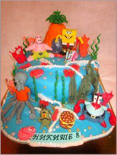 Cake Gum Paste Sponge Bob / Губка боб https://vk.com/svetkintort