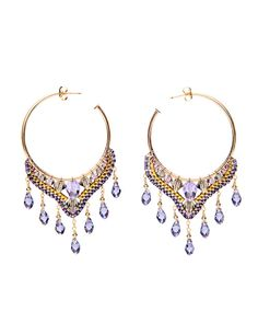 Miguel Ases Amethyst & Gold Beaded Earrings.  I'd love these in yellow or red or even blue!!!