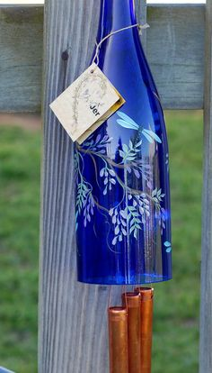 Recycled Wine Bottle Wind Chime - Purple Wisteria with Dragonflies on Blue Glass