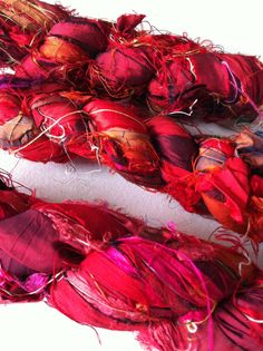 Deep exotic red. Amazing red spectrum recycled silk sari ribbon.