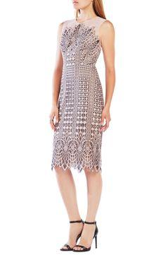 BCBGMAXAZRIA 'Belila' Lace Midi Dress available at #Nordstrom