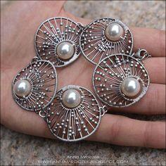"Bracelet | Anna Mroczek. ""Vintage Wedding"" Sterling and fine silver with white Swarovski pearls."