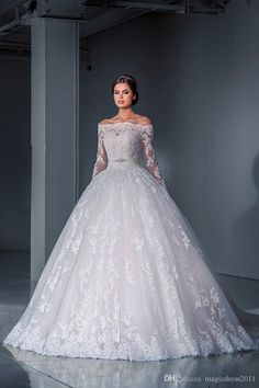 Robe De Mariage 2016 Off the Shoulder Lace Islamic Wedding Dress Ball Gown Long Sleeve Bridal Dresses Belt Court Train - AnaGarcia - Damen Hochzeitskleid and Schuhe! Beaded Wedding Gowns, Ivory Lace Wedding Dress, 2016 Wedding Dresses, Bridal Gowns, Gown Wedding, Lace Bride, Weding Dresses, Tulle Wedding, Wedding Jumpsuit