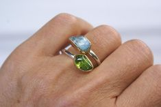Aquamarine and Peridot Double Stone Ring Rough Stone Sterling   Etsy Gold And Silver Rings, Bohemian Rings, Bracelet Sizes, Stone Rings, Statement Rings, Peridot, Jewelry Making, Gemstones, Etsy
