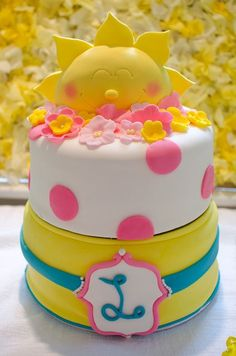 Cake at a Sunshine Party #sunshine #partycake Pretty Cakes, Cute Cakes, Beautiful Cakes, Amazing Cakes, Sunshine Birthday Parties, First Birthday Parties, First Birthdays, First Birthday Themes, Baby 1st Birthday
