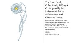 """Daisy brooch. Tiffany & Co. jewelry inspired by and for the movie """"The Great Gatsby""""."""