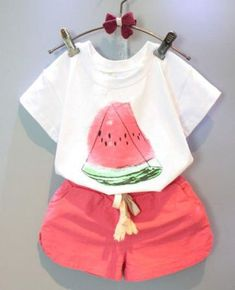 Super cute summer outfit for little girls!   Watermelon Pattern Girls Two Pieces Set   kids fashion   kids style   summer kids fashion   toddler fashion toddler clothes   kids clothes   girls clothes   girls fashion   #affiliate