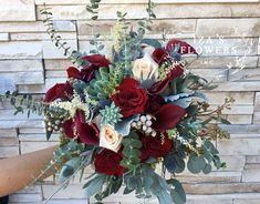 Burgundy and Blush Bouquet by Iza's Flowers, Inc. Succulents, Calla Lilies, Roses, Eucalyptus and more www.izaflowers.com