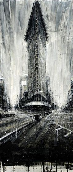 "Saatchi Art is pleased to offer the painting, ""Flat Iron,"" by Valerio D'Ospina. Original Painting: Oil on N/A. Illustration Arte, Art Graphique, Fine Art, Urban Landscape, Art Plastique, Art And Architecture, Amazing Art, Awesome, Art Drawings"