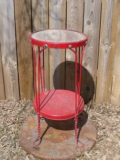 another unique stool...this could also be a nice plant stand or accent table. #industrial, #metal, #home