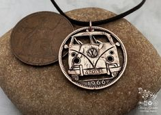 Handmade and recycle coin VW camper-van pendant necklace