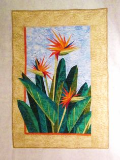 Quilted Wall Hanging  Bird of Paradise in Blue by nhquiltarts, $200.00