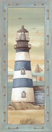 First Light II Canvas Art - Charlene Audrey x Foto Transfer Potch, Etiquette Vintage, Lighthouse Painting, Country Paintings, Decoupage Paper, Beach Crafts, Tole Painting, Beach Art, Nautical Theme