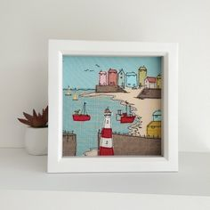 Cornwall textile art by Lillyblossom. Free-motion machine embroidery seaside fishing village lighthouse harbour seagull boats beach coast by LillyBlossom on Etsy Freehand Machine Embroidery, Free Motion Embroidery, Machine Embroidery Projects, Embroidery Software, Embroidery Supplies, Machine Embroidery Applique, Embroidery Stitches, Embroidery Ideas, Embroidery Designs Free