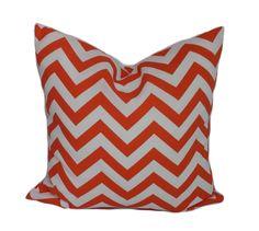 Outdoor pillows, Orange outdoor pillow covers, Halloween pillow, Halloween decor, Orange and white chevron pillow, 16x16, 18x18, 20x20 by PillowCorner on Etsy