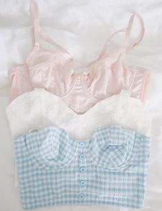 Pink, White, and Blue Gingham Bralettes