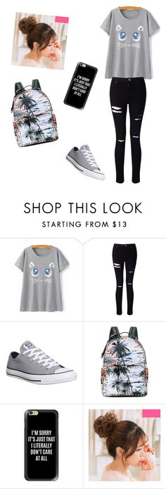 """""""The First Day"""" by thebratfive ❤ liked on Polyvore featuring Miss Selfridge, Converse, Valentino and Casetify"""