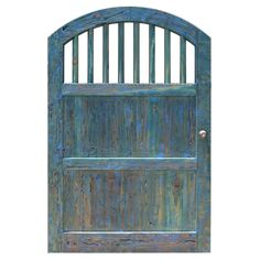 Custom Wood Gate Designs | Arch Top Wood Spindle Fence Gates - This gate features a custom color of alligator green with blue streaks