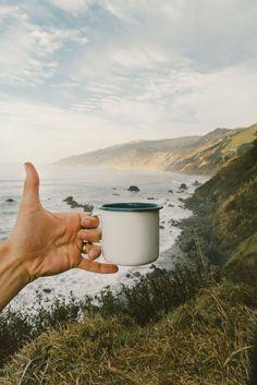 Enamel mug on the cliffside