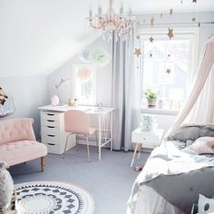 Nothing quite like a chandelier in a bedroom...a touch of modern class and a whole lot of heart eyes!!! Adore this space by one of our favourite bloggers @tildabjarsmyr. With muted greys, touches of soft pink, this rooming is ticking it all. Image and styling by @tildabjarsmyr #kidsinterior #kidsroom #girlsroom #roominspo #growingfootprints