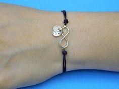 Pulseras con colgantes - pulsera cuero y infinito personalizado en plata - hecho a mano por ziggat en DaWanda
