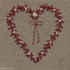 Mistletoe Heart hand embroidery by Jo Butcher
