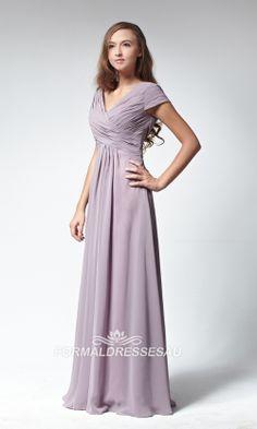Empire V-neck Floor-Length Chiffon Maternity Bridesmaid Dress With ...