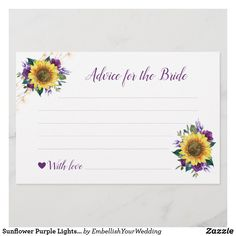 Sunflower Purple Lights Bridal Shower Advice Bridal Shower Advice, Advice Cards, Personal Photo, Zazzle Invitations, Light Purple, Party Supplies, Wedding Decorations, Burgundy, Lights