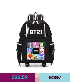 Boys  Accessories Kpop Bts Backpack Bt21 Shooky Chimmy Koya Bangtan Boys  Bookbag Shoulder Bag  ebay  Fashion 781e11a1d3ead