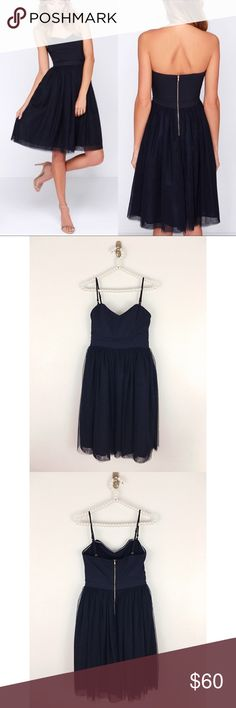 Lulu's Liaisons Strapless Tulle Dress Sz Sm Gorgeous and a timeless silhouette , exclusive to Lulu's -The Ballet Liaisons Strapless Navy Blue Dress , Size Small, Bust is approximately 14.5 inches measured flat and waist is 13 inches measured flat. Please see pics for information from Lulu's regarding fit, excellent preowned condition- this was bought for an event and never worn. Lulu's Dresses Strapless