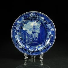 Antique Wedgwood Historical Old North Church Blue White Transfer Plate | eBay
