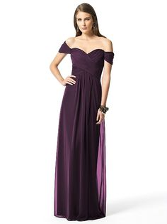 Plum eggplant bridesmaid dress off the shoulder Dessy Collection Style 2844 http://www.dessy.com/dresses/bridesmaid/2844/?color=persian plum&colorid=1140#.UpAre2fxv3g
