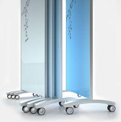 mobile glass dry erase board