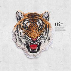 Tiger Kopf gestickt Patch Applikation Vintage-Mode von Laceshine