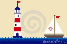 The lighthouse and ship in the ocean with waves, vector illustration