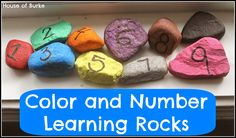 Visit the House of Burke for a super fun and easy #DIY Color and Number Learning Rocks!  Could use these for a #number #line activity too.  :)