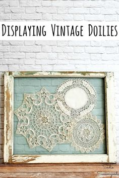 Shabby Chic Wall Decor with Lace Doilies and an Old Window Frame,Creating gorgeous DIY window frame decor has never been simpler with this craft project idea from Sadie Seasongoods! She upcycled old windows and vint. Framed Doilies, Lace Doilies, Crochet Doilies, Diy Crochet, Crochet Ideas, Upcycled Crafts, Upcycled Home Decor, Repurposed, Window Pane Decor